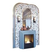 Камин, бра, декор, зеркало и панно terrazzo в стиле мемфис (Fireplace sconce mirror and decor memphis 01 YOU)