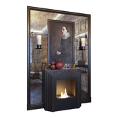 Fireplace, sconce, picture, mirror panel and red decor (Fireplace sconce picture and decor Red dark YOU)