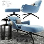 Minotti Jensen Arm Chair Set With Carpet