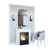 Камин, бра, зеркало, панно, декор и кресло (Fireplace sconce Rum decor and armchair YOU)