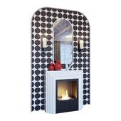 Камин, бра, красный декор, зеркало и панно в стиле поп-арт (Fireplace sconce mirror and decor pop art Red 01 YOU)