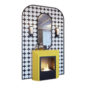 Камин желтый, бра, декор, зеркало и панно в стиле поп-арт (Fireplace sconce mirror and decor pop art Yellow 01 YOU)