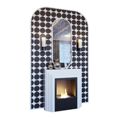 Камин белый, бра, декор, зеркало и панно в стиле поп-арт (Fireplace sconce mirror and decor pop art White 01 YOU)