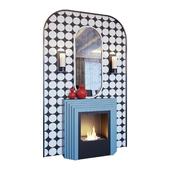 Камин голубой, бра, красный декор, зеркало и панно в стиле поп-арт (Fireplace sconce mirror and decor pop art Blue red 01 YOU)