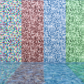 Mosaic pool with water - Vray Material