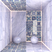 Moroccan Ceramic Tile and Blue Quartz