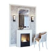 Камин, бра, зеркало, панно, декор и кресло 02 (Fireplace sconce Rum decor and armchair 02 YOU)