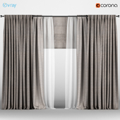 Wide brown curtains in two shades with white tulle + Roman blinds.