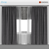 Wide dark curtains with tulle + Roman blinds.