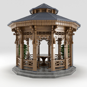 Wood arbour and Plant in pot