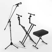 Microphone + keyboard stand + bench