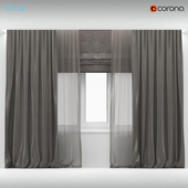 Wide brown curtains with brown tulle + Roman blinds.