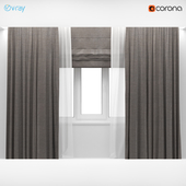 Wide brown curtains with white tulle + Roman blinds.