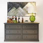 Palermo gray chest of drawers with 6 drawers. Whatnot.