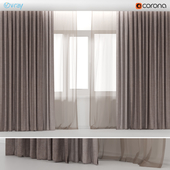 Brown curtains in two colors with brown tulle.