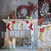 Artificial fireplace with Christmas decoration 4