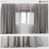 Wide gray curtains with gray tulle + Roman blinds.