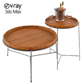 Remy Coffee Table with wine and glasses Low-poly 3D model