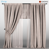 Beige curtains with bead with beige tulle + Roman curtain.