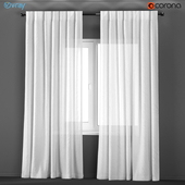 White transparent curtains from flax.