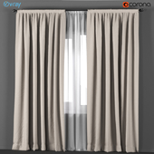 Beige curtains with white tulle.