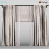 Wide beige curtains with beige tulle + Roman blinds.