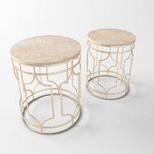Набор журнальных мраморных столов с золотым каркасом ZARA HOME