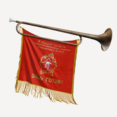 Pioneer horn with a pennant