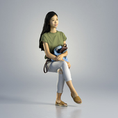 Woman Emily Casual Sitting 001