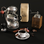 Decorative set and La Sorrentina Coffee maker