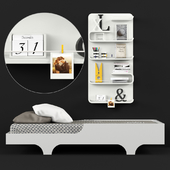 Bed 02 | Single bed and wall shelf with decor