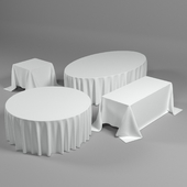 Tablecloths on the floor. 4 forms.