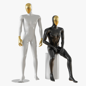 Abstract male mannequin gold face 23