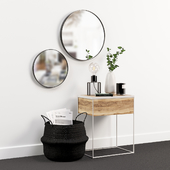 Decorative set with a curbstone and mirrors