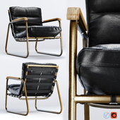 Fred Mid Century Loft Black Leather Armchair