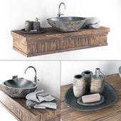 Washbasin stone wood table / Stone washbasin on a wooden table