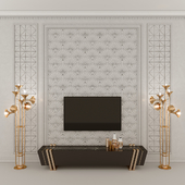 TV area, wall panel, floor lamp