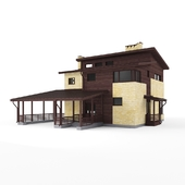 two-story cottage with carport