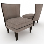 Quilted Italian Walnut Wing Chair0