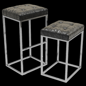Restoration Hardware Reese Tufted Leather Stool