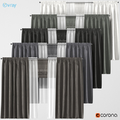 Blackout curtains in 5 colors + tulle + Roman curtain.