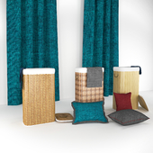 Straw Box, Pillow and Curtain