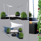 Outdoor furniture, sun protection system (awning)