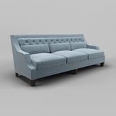 OM Sofa Fratelli Barri MESTRE in fabric blue-gray mat (ART62799-col. 12), legs in mahogany veneer (Mahogany C), FB.SF.MES.179