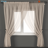 Beige tulle curtains with pearl garters