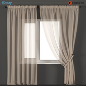 Beige tulle curtains with pearls