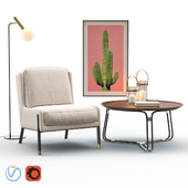 Blink Easy Chair - QT Coffee Table - Emery Floor Lamp