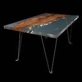 Slab and epoxy resin table