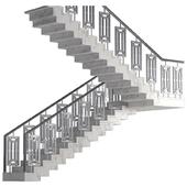 Лестница из металла и мрамора