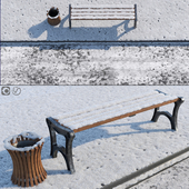 Snow Bench & Sidewalk & street